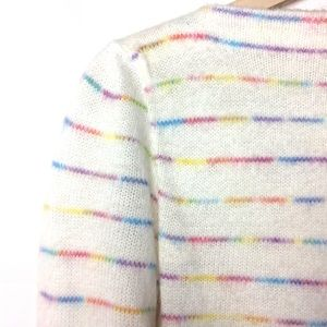 Vintage rainbow sweater striped 70s white blouse